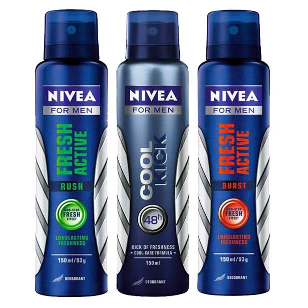 Nivea Fresh Active Rush, Fresh Active Burst, Cool Kick Pack of 3 Deodorants