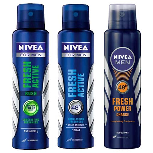 Nivea Fresh Power Charge, Fresh Active, Fresh Active Rush Pack of 3 Deodorants