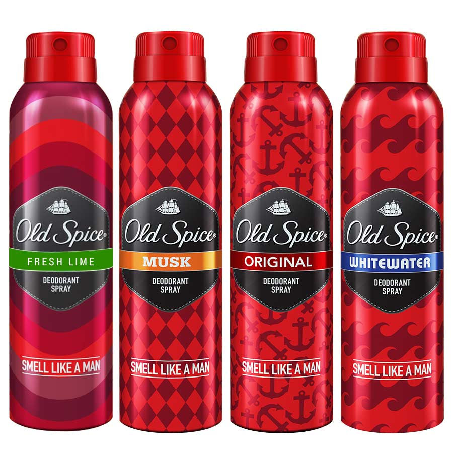Old Spice Original, WhiteWater, Fresh Lime and Musk Pack of 4 Deodorants
