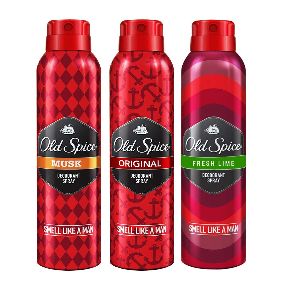 Old Spice Original, Fresh Lime and Musk Pack of 3 Deodorants