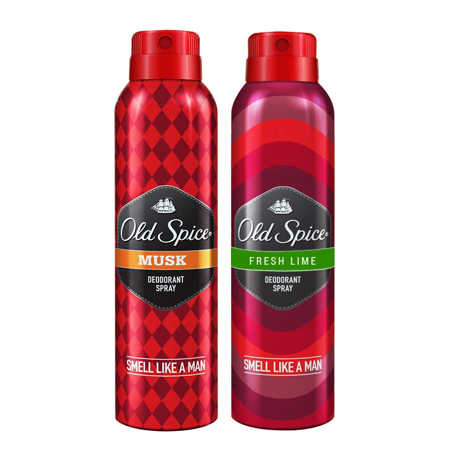 Old Spice Fresh Lime, Musk Pack of 2 Deodorants