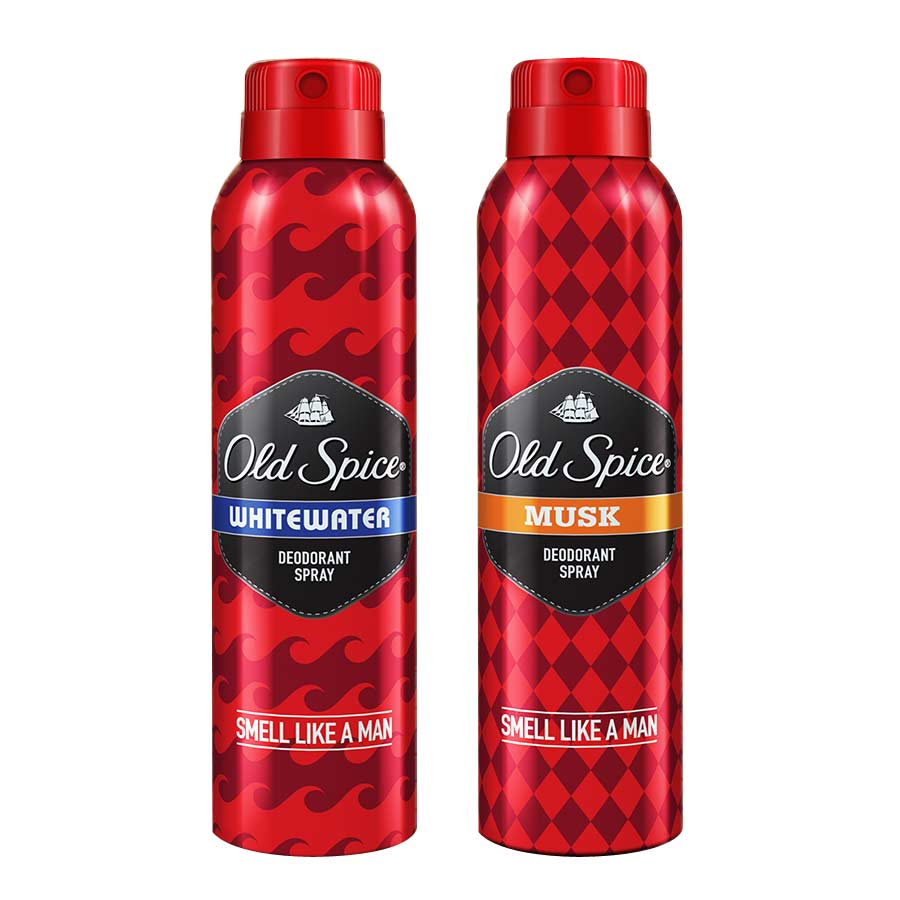 Old Spice Whitewater, Musk Pack of 2 Deodorants