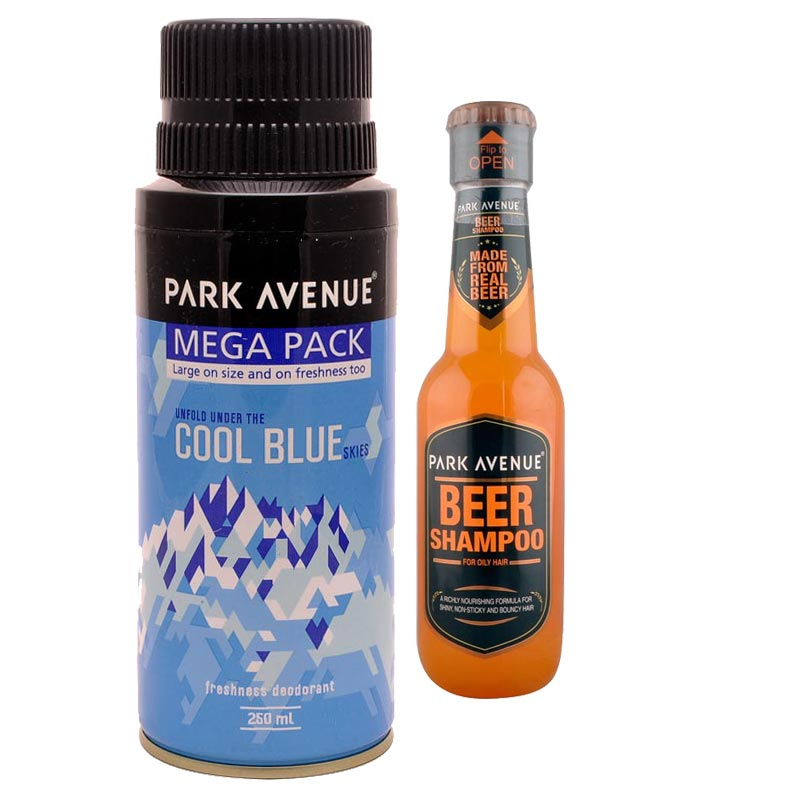 Park Avenue Combo of Oily Hair Shampoo, Cool Blue Mega Deodorant