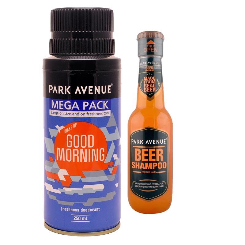 Park Avenue Combo of Oily Hair Shampoo, Good Morning Mega Deodorant