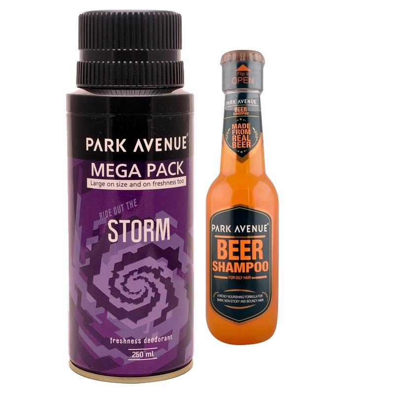 Park Avenue Combo of Oily Hair Shampoo, Storm Mega Deodorant