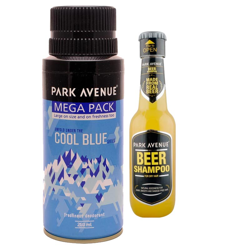Park Avenue Combo of Dry Hair Shampoo, Cool Blue Mega Deodorant