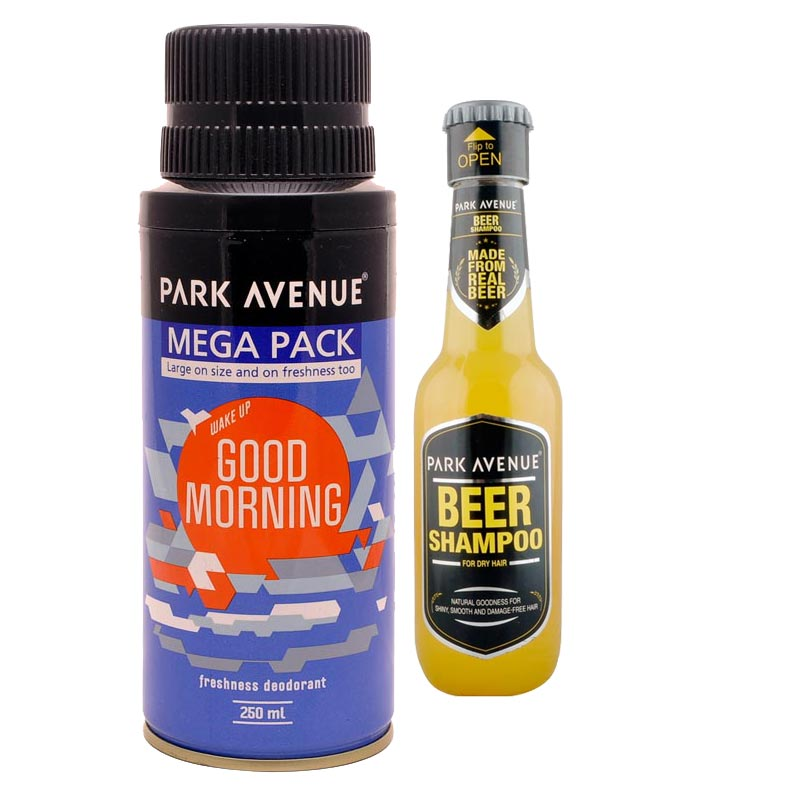 Park Avenue Combo of Dry Hair Shampoo, Good Morning Mega Deodorant