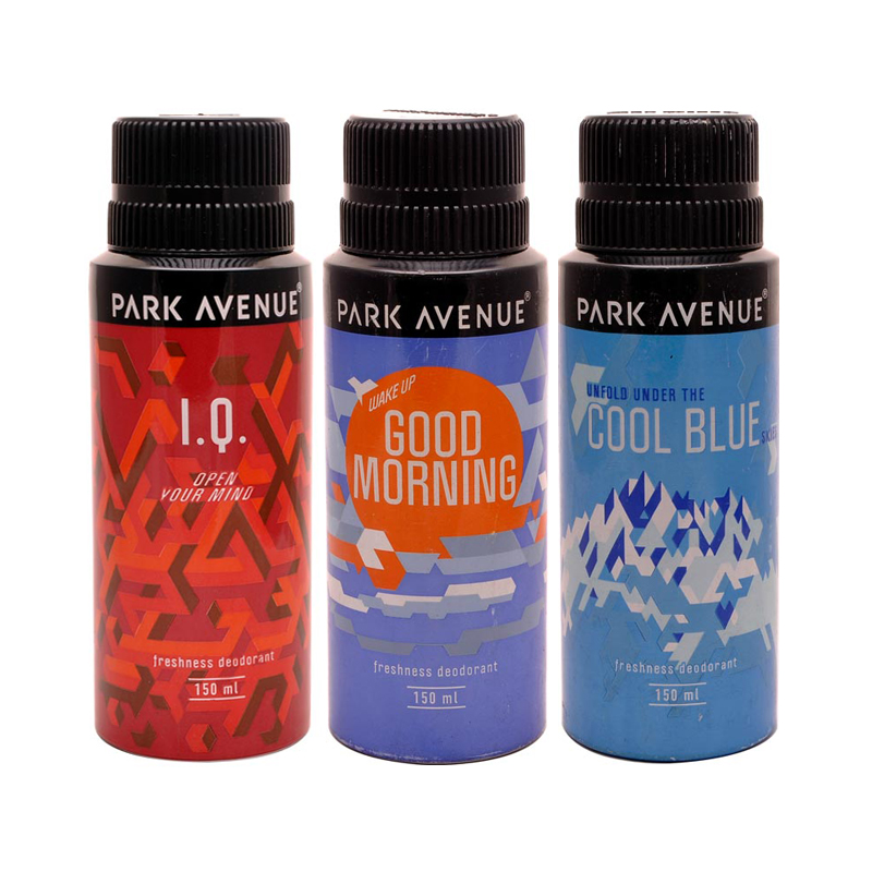 Park Avenue Cool Blue, Good Morning, IQ Pack of 3 Deodorants