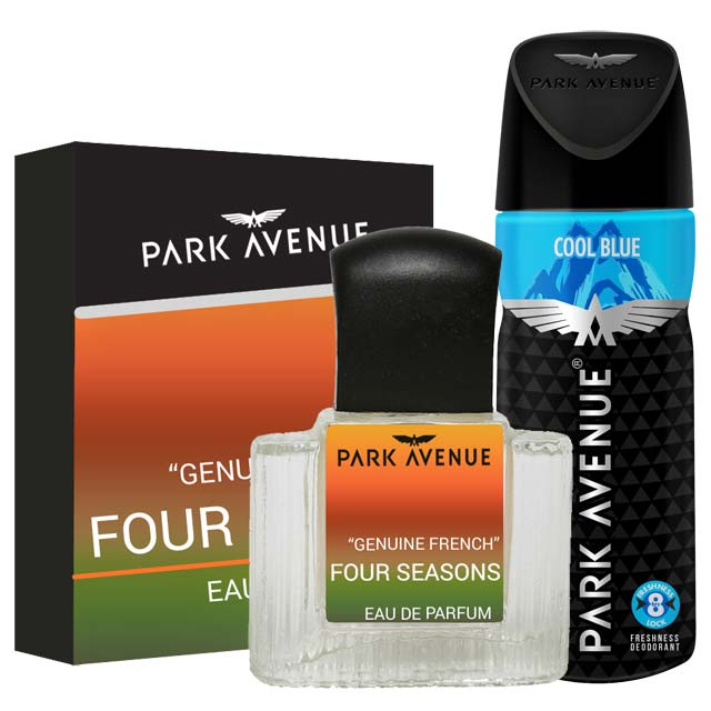 Park Avenue Combo of 4 Seasons Perfume, Cool Blue Deodorant