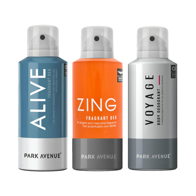 Park Avenue Zing, Voyage, Alive Pack of 3 Deodorants