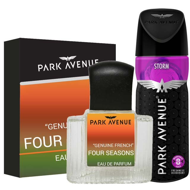 Park Avenue Combo of 4 Seasons Perfume, Storm Deodorant