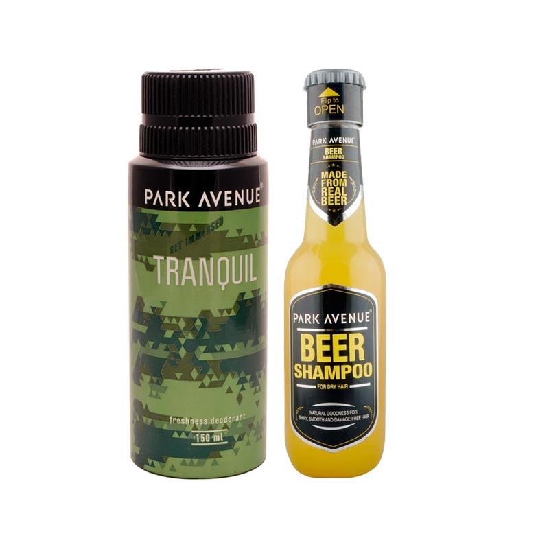 Park Avenue Combo of Dry Hair Shampoo, Tranquil Deodorant
