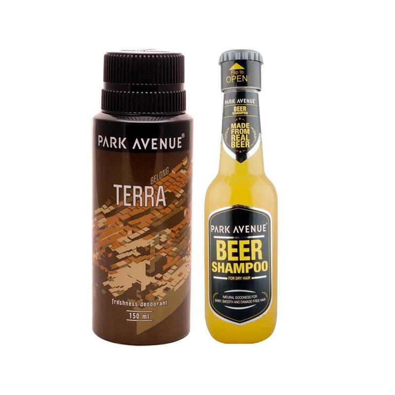 Park Avenue Combo of Dry Hair Shampoo, Terra Deodorant