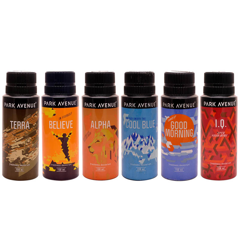 Park Avenue Terra, Believe, Alpha, Cool Blue, Good Morning, IQ Pack of 6 Deodorants