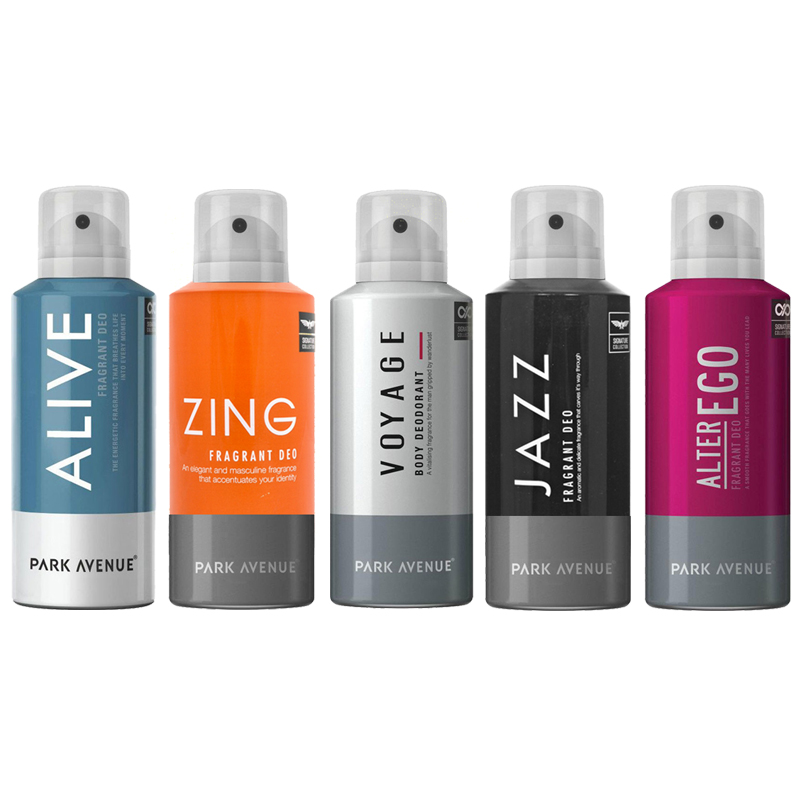 Park Avenue Alive, Alter Ego, Jazz, Zing, Voyage Pack of 5 Deodorants