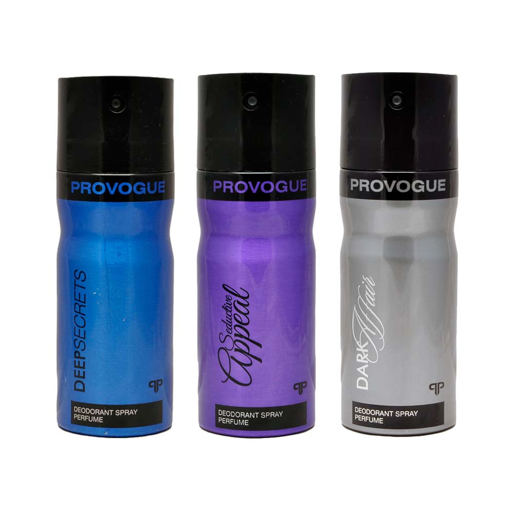 Provogue Dark Affair, Deep Secret, Seductive Appeal Pack of 3 Deodorants