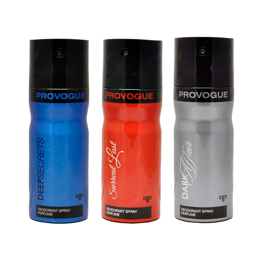 Provogue Dark Affair, Deep Secret, Surreal Lust Pack of 3 Deodorants