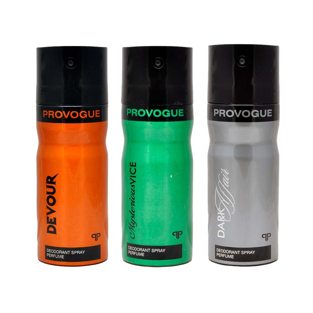 Provogue Dark Affair, Devour, Mysterious Vice Pack of 3 Deodorants