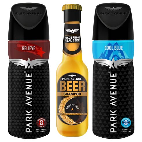 Park Avenue Beer Shampoo, Believe, Cool Blue Deodorants Pack of 3 Products