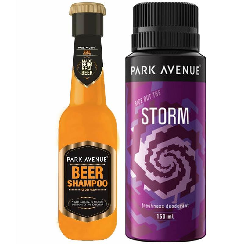 Park Avenue Combo of Oily Hair Shampoo, Storm Deodorant