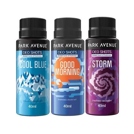 Park Avenue Cool Blue, Storm , Good Morning Shots Pack of 3 Deodorants