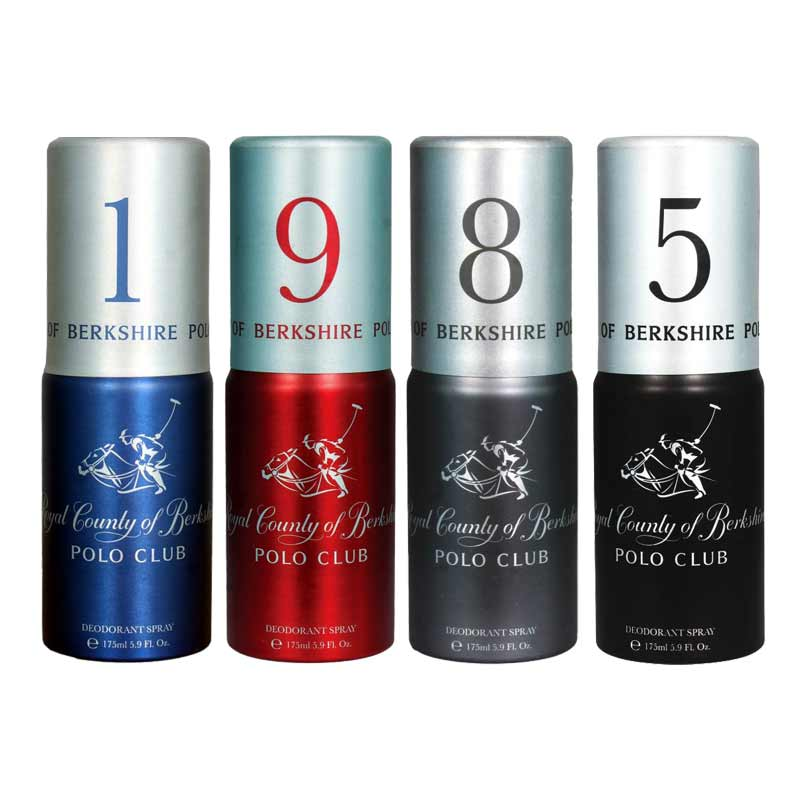 Royal County Of Berkshire Polo Club No 1, 9, 8, 5 Pack of 4 Deodorant Sprays