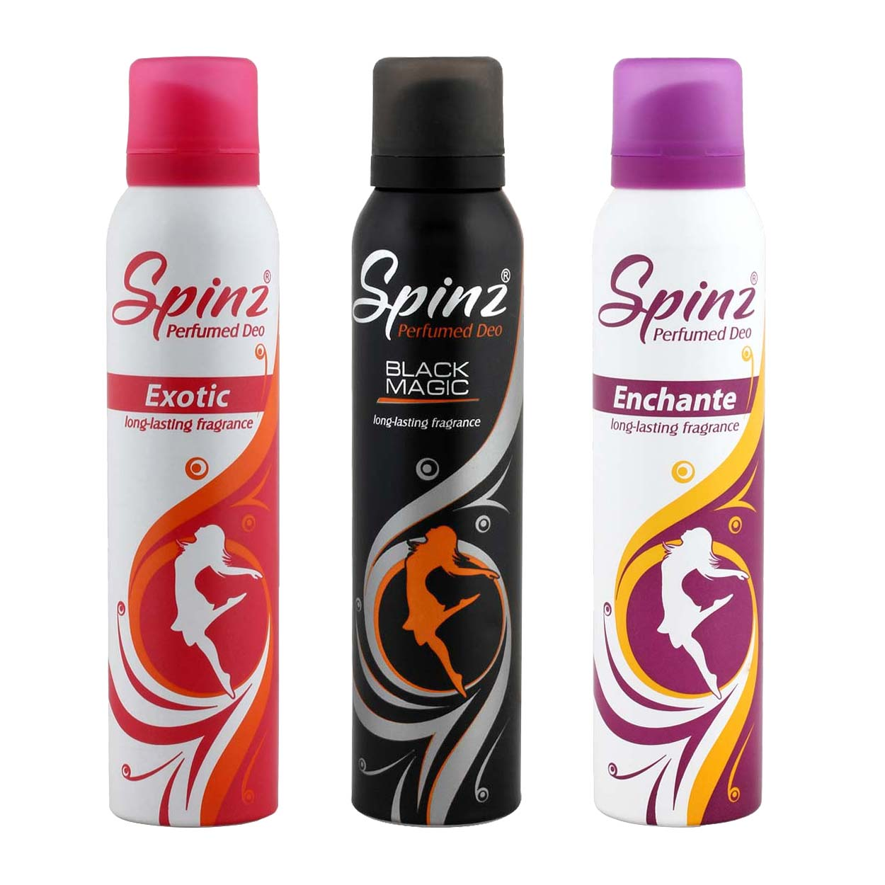 Spinz Enchante, Exotic And Black Magic Pack Of 3 Deodorants