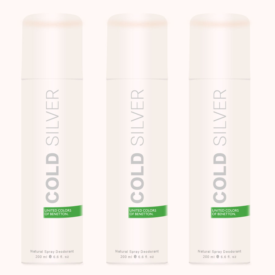 United Colors Of Benetton Cold Silver Pack Of 3 Deodorants