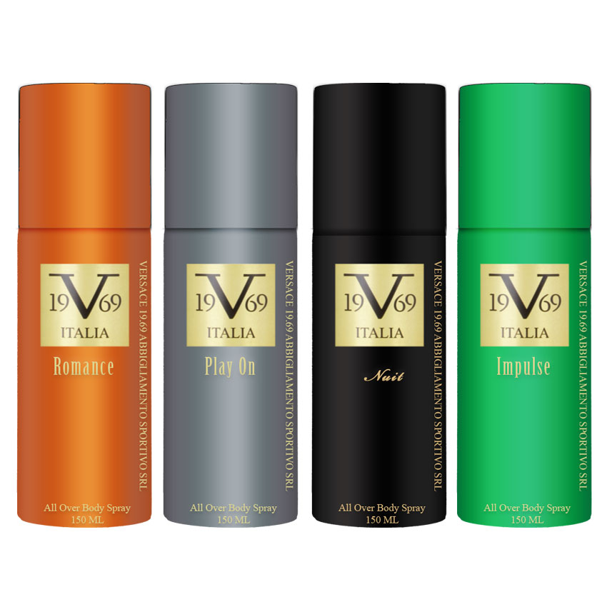 Versace V1969 Italiano Romance, Play On, Nuit, Impulse Value Pack Of 4 Deodorants