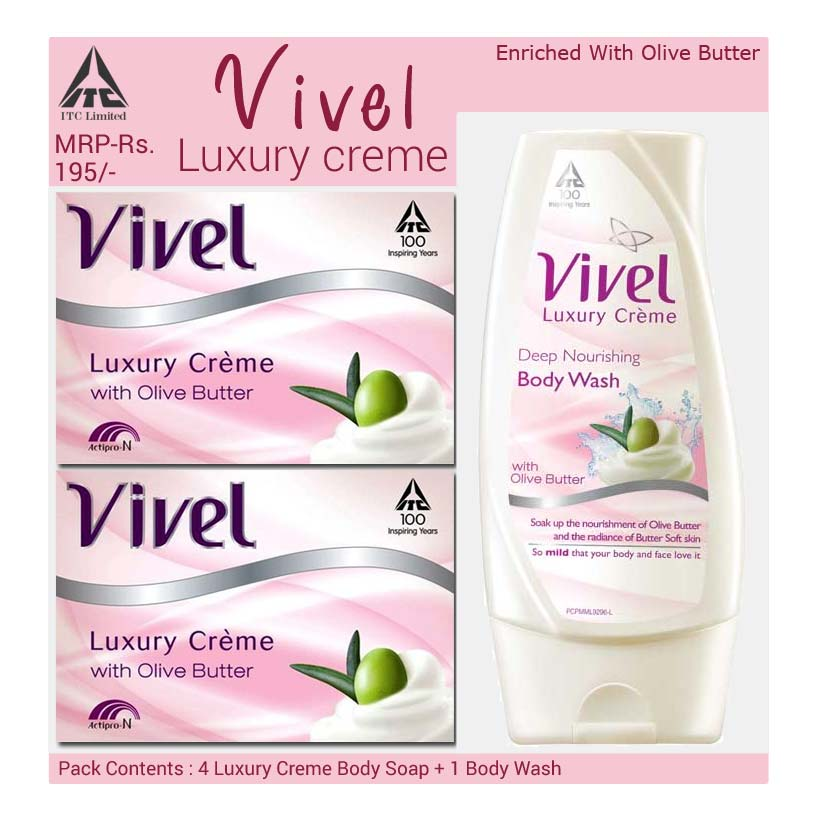 Vivel Luxury Crème Deep Nourishing Extra Value Pack of 4 Soaps With Free Body Wash