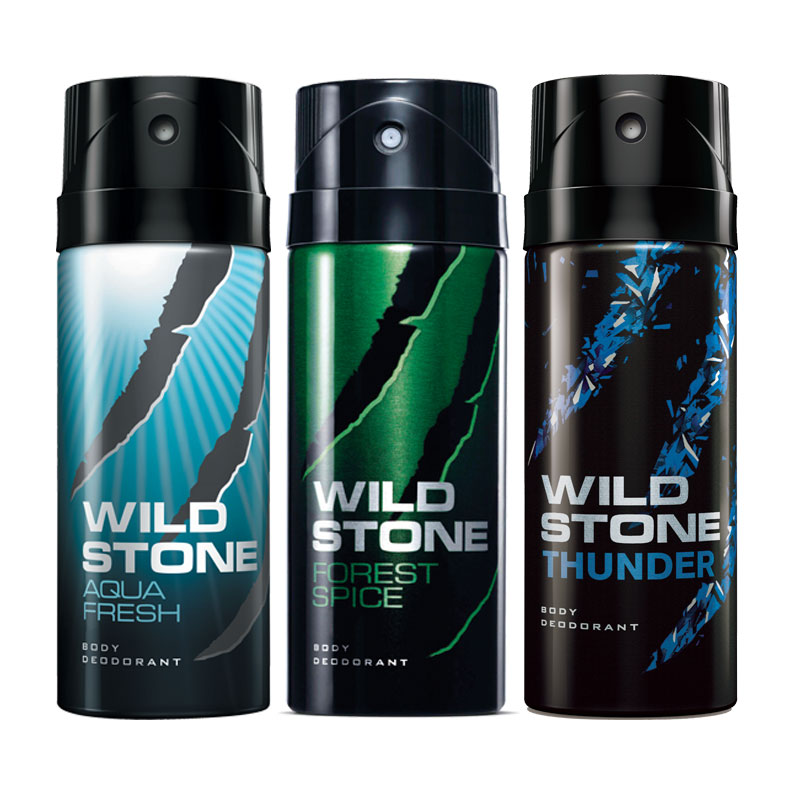 Wild Stone Aqua Fresh Forest Spice Thunder Pack of 3 Deodorants