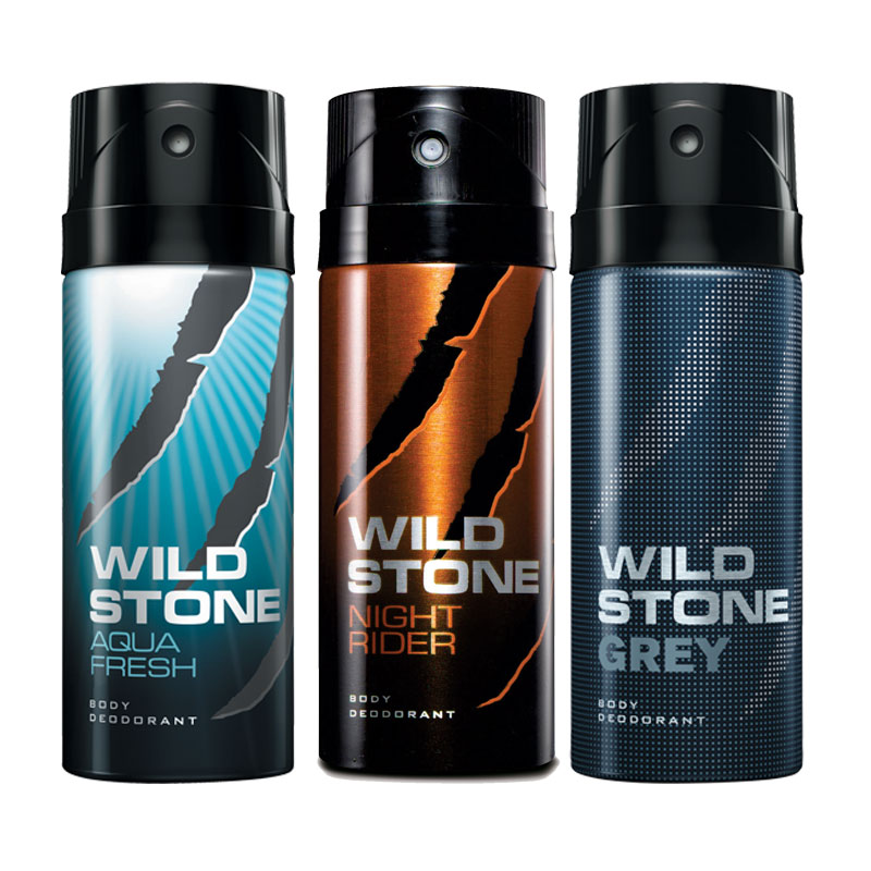 Wild Stone Aqua Fresh Night Rider Grey Pack of 3 Deodorants