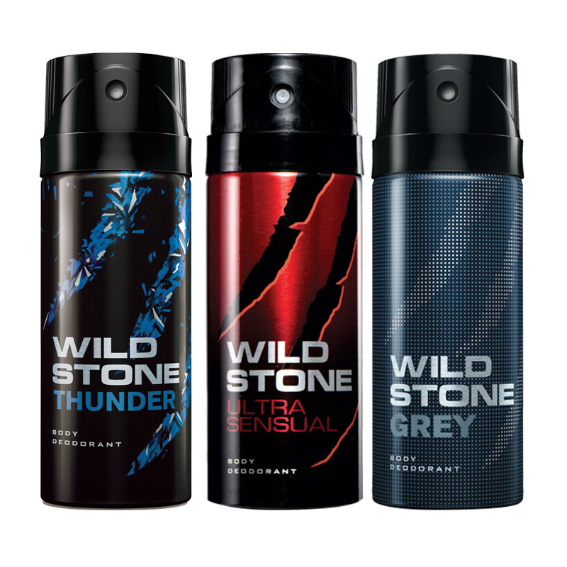 Wild Stone Thunder Ultra Sensual Grey Pack of 3 Deodorants