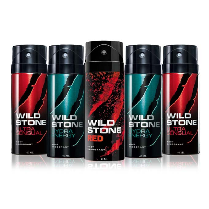 Wild Stone Pack Of 5 Deodorant Shots - 1 Red, 2 Ultra Sensual And 2 Hydra Energy