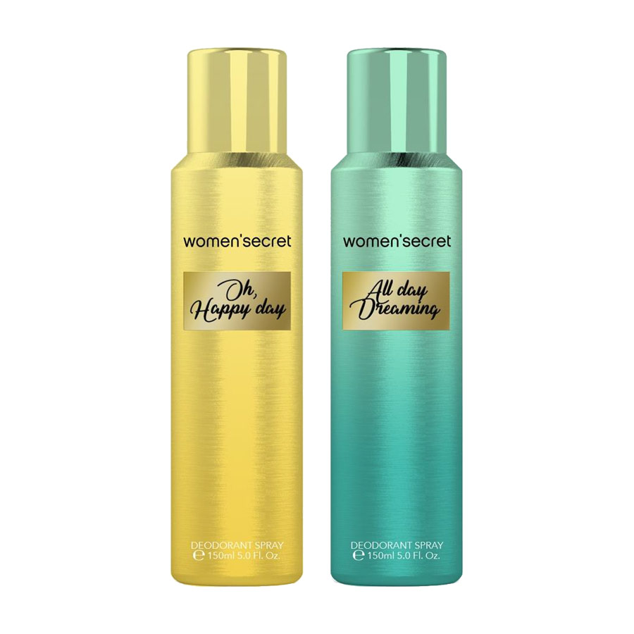 Women Secret Oh Happy Day, All Day Dreaming Pack of 2 Deodorant Sprays