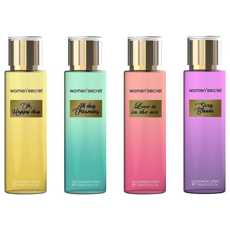 Women Secret Oh Happy Day, Love Is In The Air, All Day Dreaming, Sexy Bloom Pack of 4 Body Mists