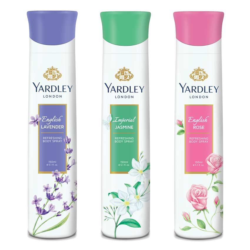 Yardley London English Rose, Jasmine, English Lavender Pack of 3 Deodorants