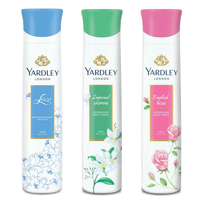 Yardley London English Rose, Jasmine, Lace Pack of 3 Deodorants