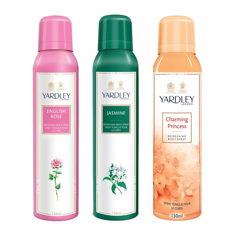 Yardley London English Rose, Jasmine, Charming Princess Pack of 3 Deodorants