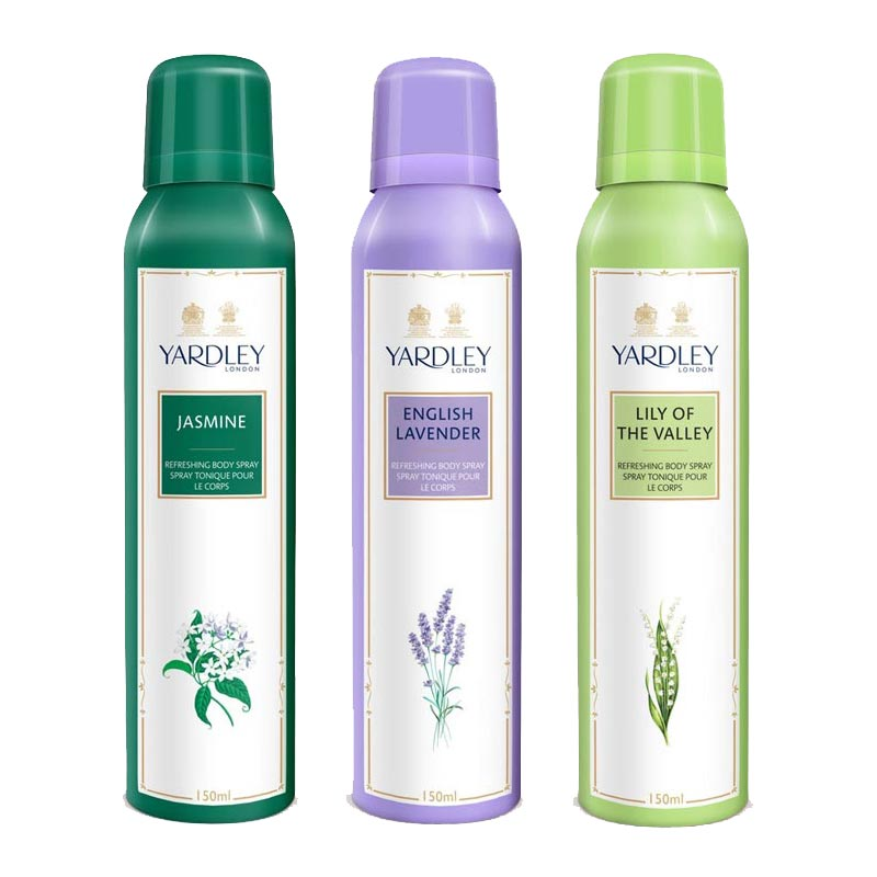 Yardley London Jasmine, English Lavender, Lily Of The Valley Pack of 3 Deodorants