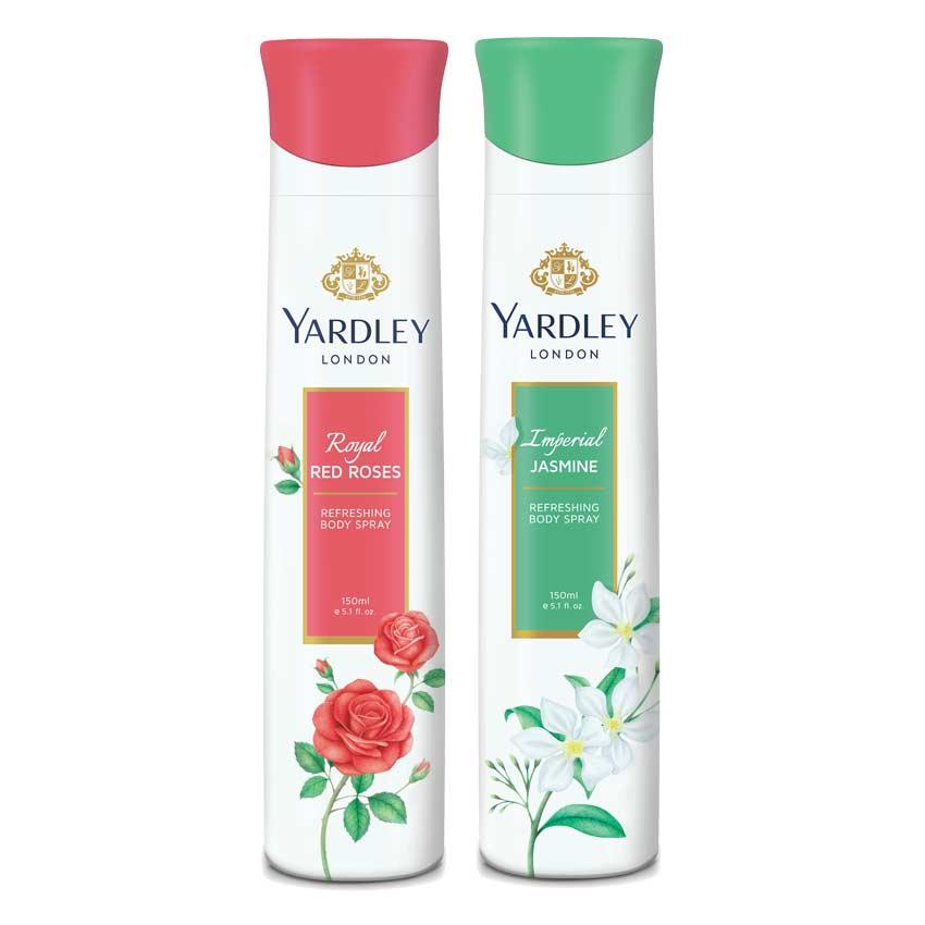 Yardley London Jasmine, Red Roses Pack of 2 Deodorants