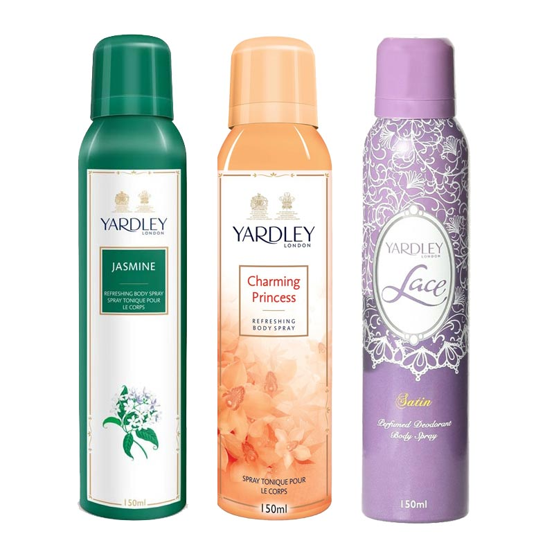 Yardley London Jasmine, Charming Princess, Lace Satin Pack of 3 Deodorants