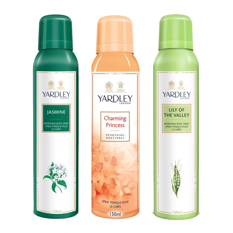 Yardley London Jasmine, Charming Princess, Lily Of The Valley Pack of 3 Deodorants