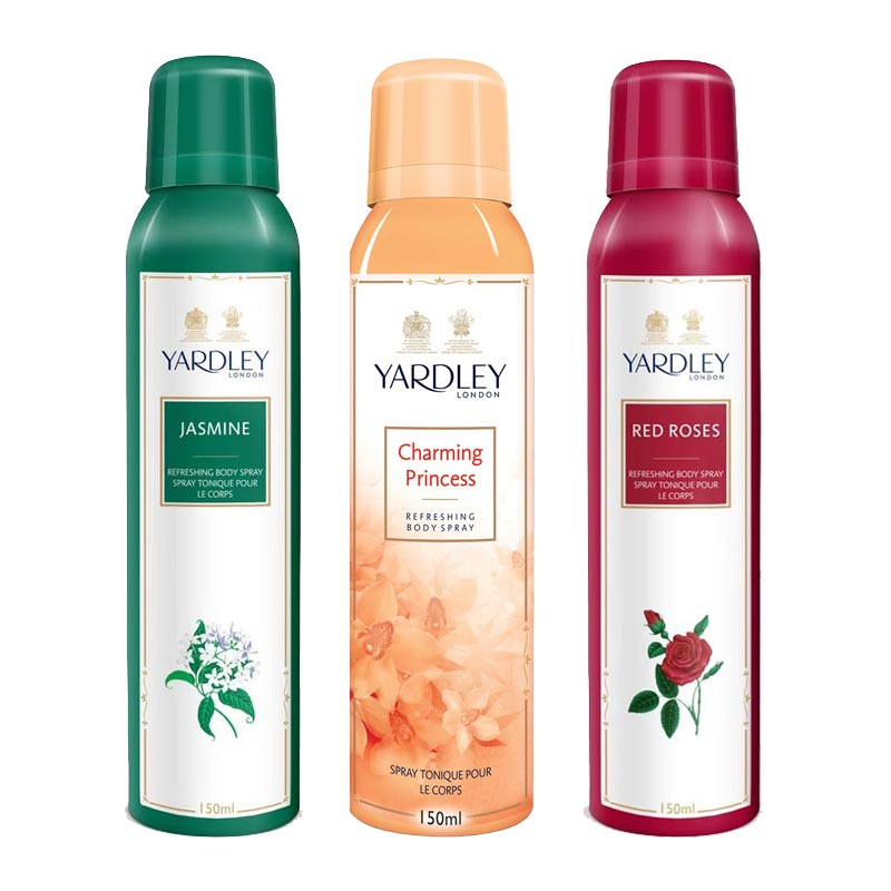 Yardley London Jasmine, Charming Princess, Red Roses Pack of 3 Deodorants