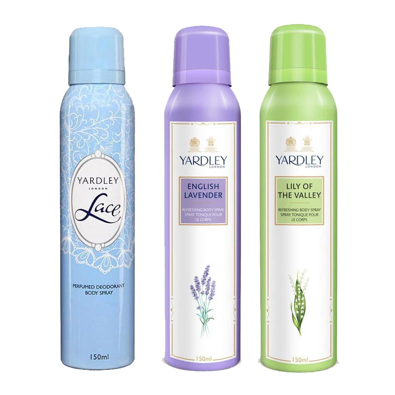Yardley London Lace, English Lavender, Lily Of The Valley Pack of 3 Deodorants