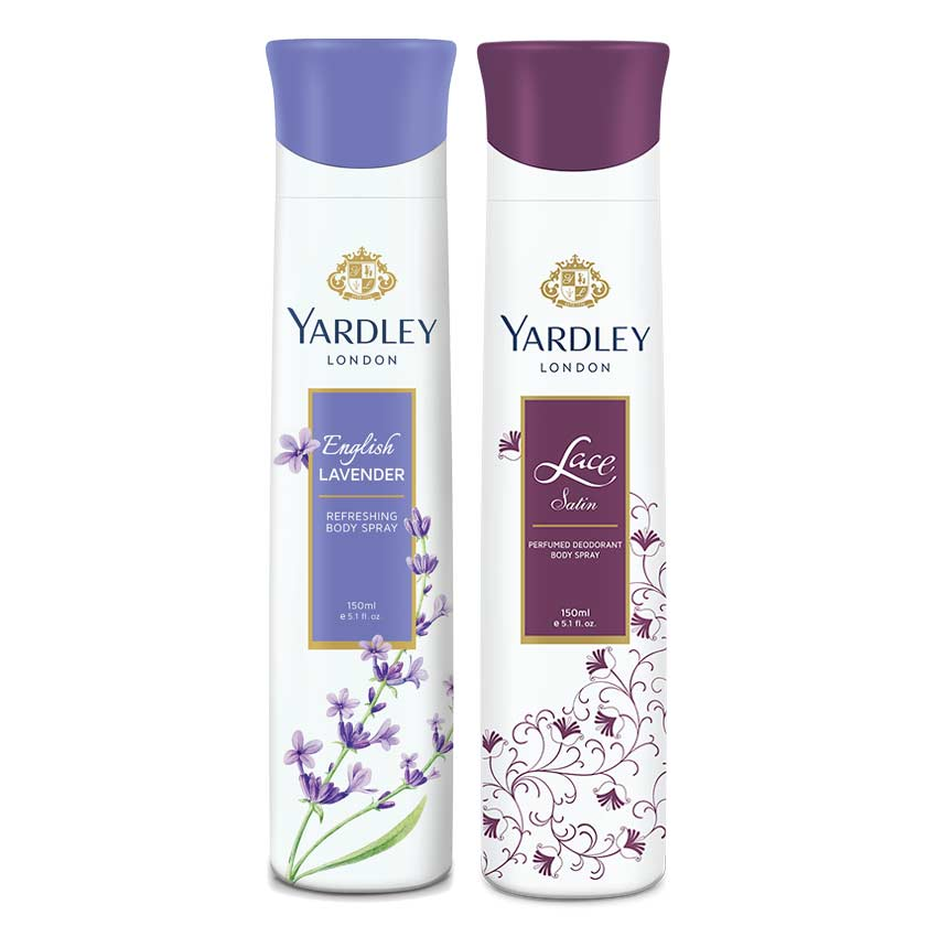 Yardley London Lace Satin, English Lavender Pack of 2 Deodorants