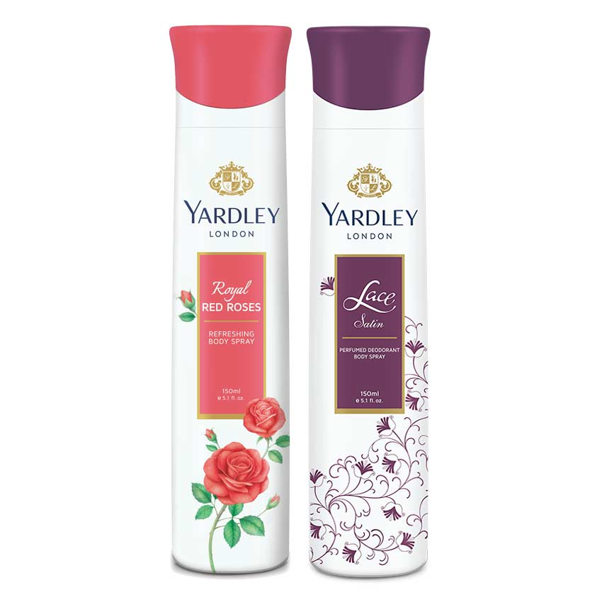 Yardley London Lace Satin, Red Roses Pack of 2 Deodorants