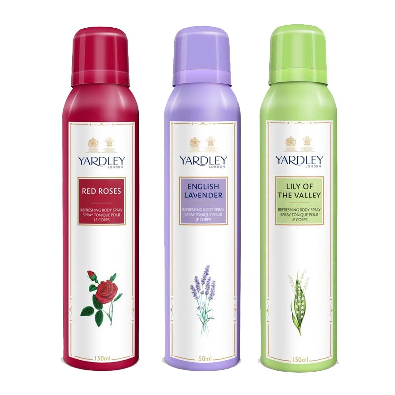 Yardley London Red Roses, English Lavender, Lily Of The Valley Pack of 3 Deodorants