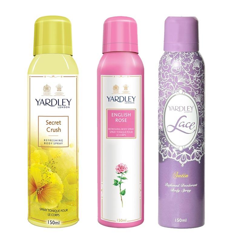 Yardley London Secret Crush, English Rose, Lace Satin Pack of 3 Deodorants