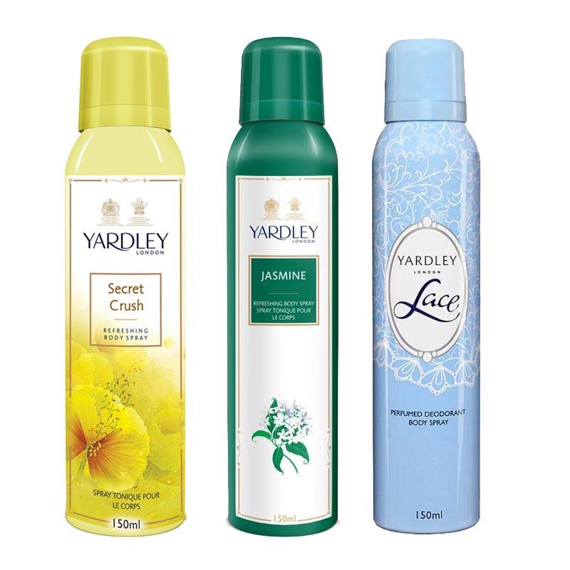 Yardley London Secret Crush, Jasmine, Lace Pack of 3 Deodorants